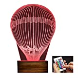 Novelty Lamp, 3D LED Lamp Hot Air Balloon Optical Illusion Night Light Gift Suitable for Birthday Christmas Child Adult USB Powered with Remote Control Change The Color of The Light,Ambient Light