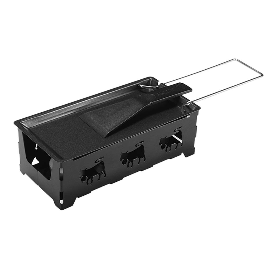Homyl Cheese Stove Set - Grill Rack Scraper Griddle With Assist Handle Cheese Pan - Black