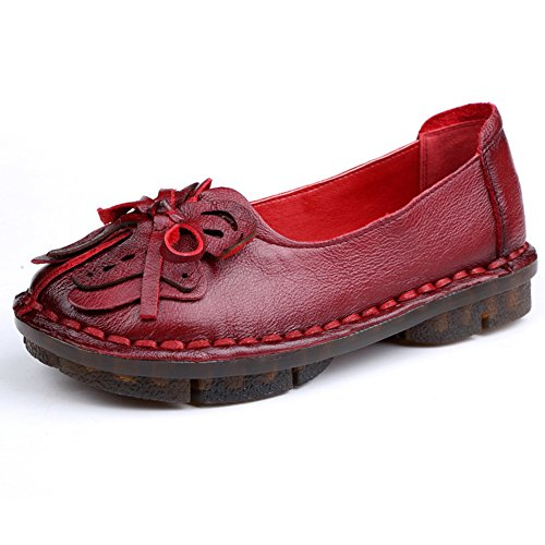 Btrada Kvinners Vintage Håndarbeid Blomster Loafers Myke Rund Tå Kjøre  Mokasiner Blokkeringsfrie Flat Båt Sko Rød