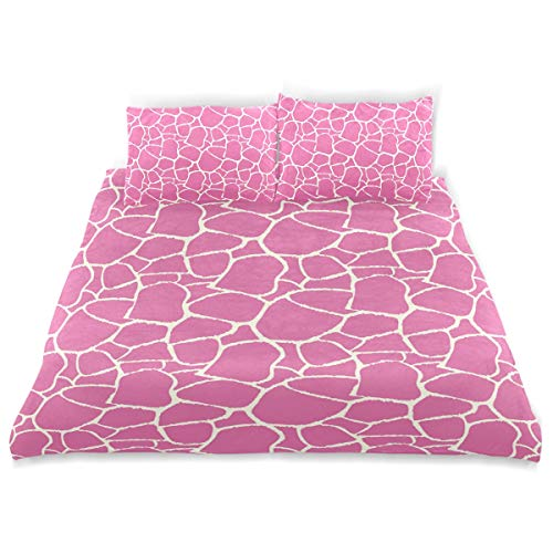 YCHY Decor Duvet Cover Set, Hot Pink Abstract Giraffe Skin Print A Decorative 3 Pcs Bedding Set with Pillowcases, Queen/Full