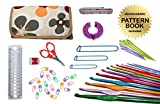 Gold Medal Crafts 47-Piece Standard Crochet Kit with Downloadable Pattern Book, Hooks, Canvas Carrying Case and Accessories, Floral Pattern