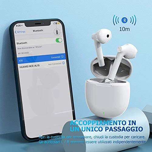 Bluetooth 5.0 Headsets,Wireless Headsets with【24Hrs Charging Case】 Waterproof TWS Stereo Headphones,for Apple Airpods iPhone Sport Earphones (White)