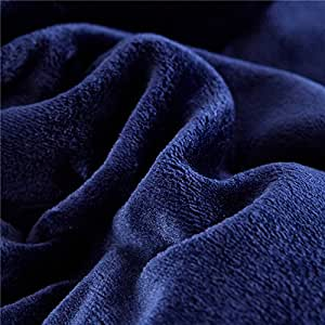 Flannel Fleece Luxury Blanket Blue Navy Throw Lightweight Cozy Plush Microfiber Solid Blanket (King, Navy)