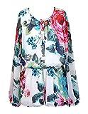 Truly Me Big Girls Tween Elegant Floral Long Sleeve Chiffon Romper, 7-16 (16, Ivory Multi)