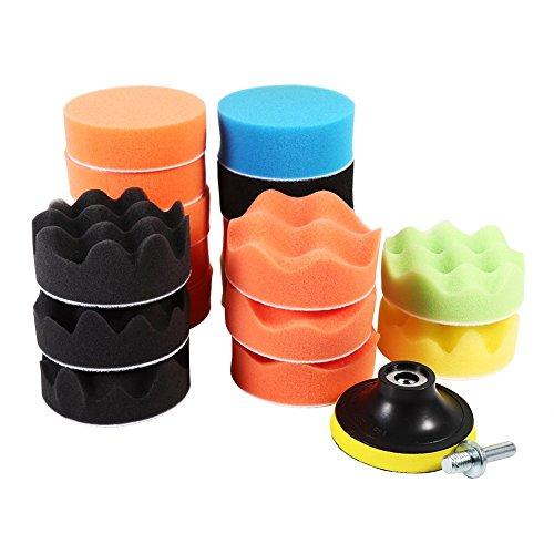 Qiilu 19Pcs 3'' Polishing Pads Kit Sponge Waxing Buffing Foam Polish Pad Set for Car Sanding, Polishing, Waxing, Sealing Glaze (17 Polishing Pads+ 1 M10 Drill Adapter+ 1 Buffing Wheel)