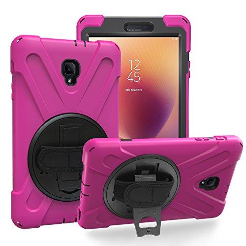 Galaxy Tab A 8.0 2017 T380 T385 Case by KIQ Shockproof Heavy Duty Military Armor Hybrid Shield Cover Palmstrap Kickstand for Samsung Galaxy Tab A 8.0-inch SM-T380 SM-T385 (Shield Hot Pink) (Samsung Galaxy Tablet Gel Case)