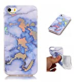 clear back blue bumper iphone5s - Lomogo iPhone 5S / iPhone SE / iPhone 5 Case Marble Shockproof Anti-Scratch Silicone Case Cover for Apple iPhone 5S / SE / 5 - LOYHU20012 Blue
