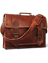 Vintage Crafts 18 Inch Genuine Business Leather Laptop Messenger Bag Handmade Brown Satchel Bag