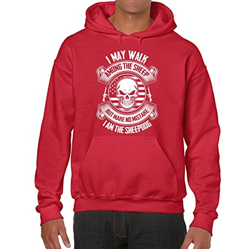 Walk Among The Sheep, But I Am The Sheep Dog Hoodie Printasaurus Red L