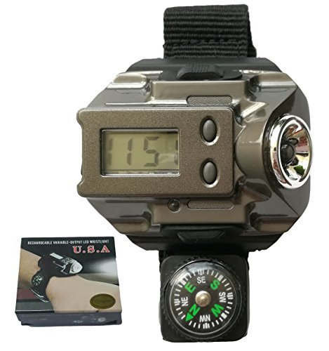 Qingsm Aluminum Alloy Dial Watch Flashlight Rechargeable Water Resistant LED Light Watch for Running Biking Climbing Camping Hiking (Gun grey)
