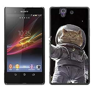 PC/Aluminum Funda Carcasa protectora para Sony Xperia Z L36H C6602 C6603 C6606 C6616 Cosmonaut Astronaut Kitten Cat Space / JUSTGO PHONE PROTECTOR