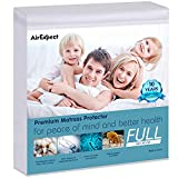 Waterproof Mattress Protector Full Size - AirExpect 100% Organic Cotton Hypoallergenic Breathable Mattress Pad Cover, 18' Deep Pocket, Vinyl Free - 54'x75  '