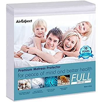 Waterproof Mattress Protector Full Size - AirExpect 100% Organic Cotton Hypoallergenic Breathable Mattress Pad Cover, 18