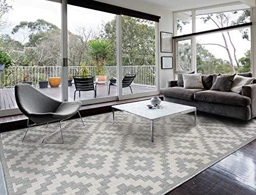 Homegnome Indoor Outdoor Grey Area Rug 8 x10 , Moroccan Grey