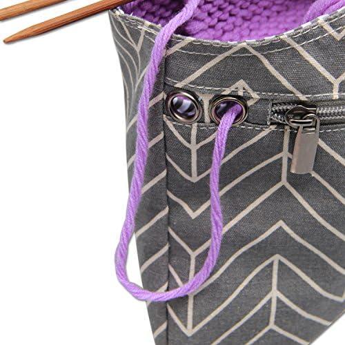 Teamoy Bolso de Ovillos Bolsa en Mano de Tejer Bolsos para Agujas Mochila de Crochet(Grande,Gris): Amazon.es: Hogar