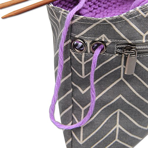 """Teamoy Knitting Tote Bag(L12.2"""" x W7.5""""), Travel Canvas Project Wrist Bag for Knitting Needles(up to 11 Inches), Yarn and Crochet Supplies,Perfect Size for Knitting on The Go (Small, Arrow)"""