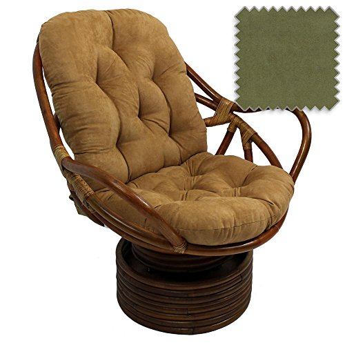 Bali Rattan Papasan Swivel Rocker with Cushion - Solid Microsuede Fabric, Sage