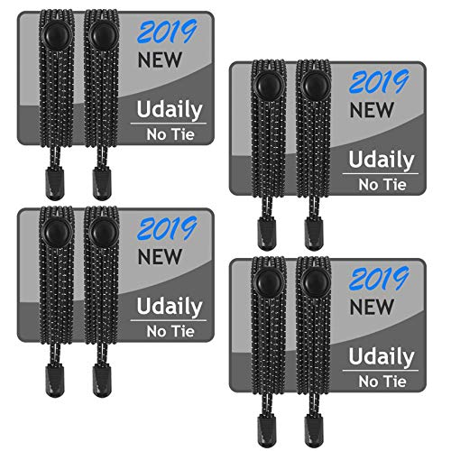 Udaily 1 or 4 Pairs No Tie Shoelaces for Kids and Adults, Elastic Shoe Laces for Sneaker …