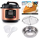 GoWISE USA 8-Quarts 12-in-1 Electric Pressure Cooker + 50 Recipes for your Pressure Cooker Book with Measuring Cup, Stainless