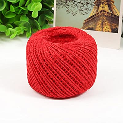 50 Meters Colourful Hemp Natural Jute Twine Hessian String Cord 2mm (Red): Arts, Crafts & Sewing [5Bkhe0105616]