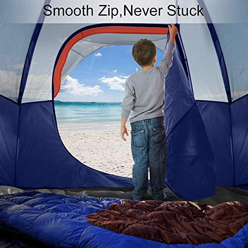 TOMOUNT 8-Person Tent - Easy & Quick Setup Camping Tent, Professional Waterproof & Windproof Fabric, Anti-UV, Double Layer, 5 Large Mesh for Ventilation, Lightweight & Portable with Carry Bag, Blue