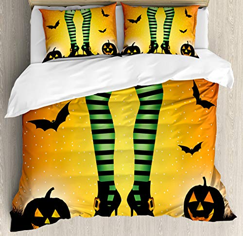 Ambesonne Halloween Duvet Cover Set, Cartoon Witch Legs with Striped Leggings Western Concept Bats and Pumpkins Print, Decorative 3 Piece Bedding Set with 2 Pillow Shams, King Size, Orange Green