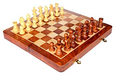 """10"""" x 10"""" Collectible Wooden Chess Game Board Set+Wooden Magnetic Crafted Pieces"""