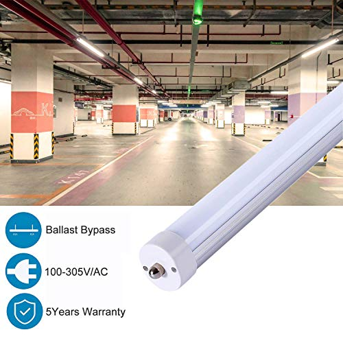 CNSUNWAY LIGHTING T8 8FT LED Bulbs,Ballast Bypass, 45Watt,4800Lumens,4000K Daylight Glow,Frosted Cover,FA8 Single Pin LED Tube Light(12-Pack) by CNSUNWAY LIGHTING (Image #1)