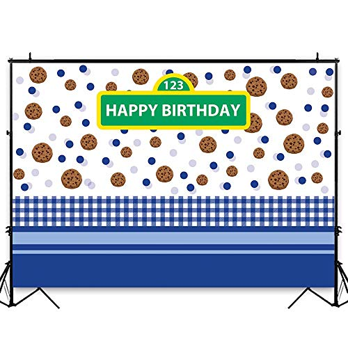 Funnytree 7x5ft Happy Birthday Party Backdrop for Baby Boy Cartoon Cookie Polka Dots Street Photography Background Blue White Grid Carnival Cake Table Decoration Banner Photo Studio Booth Props -