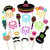 Turnon 21pcs Mexican Sugar Skull DIY Photo Booth Props Souvenirs Cute With A Bamboo Stick Mustache Lips Decor Party Supplies