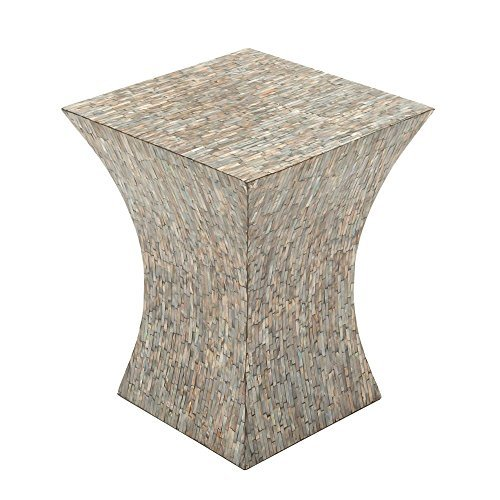 Astonishing Wood Shell Inlay Accent Table by Benzara