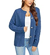 GOOTUCH Women's Long Sleeve Cardigan Sweater Button Down Solid Color Cable Knit Loose Warm Outwea...
