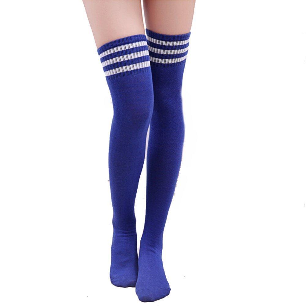 calze da donna sopra il ginocchio HugeStore a righe blu bianco