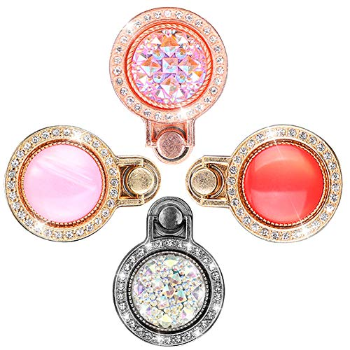 - Bling Ring Phone Holder, Sparkly Diamond Phone Finger Ring Stand, Rhinestone Phone Kickstand Ring Compatible for iPhone XS Max,iPhone XR,Samsung S10/S10 Plus and More (4 Pack,Black/Rose Gold/Red/Pink)