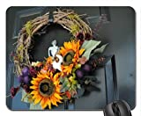 September Door Wreath Mouse Pad, Mousepad (Houses Mouse Pad)