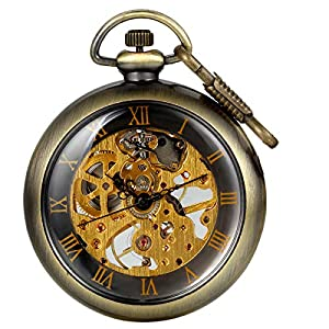 JewelryWe Mens Vintage Mechanical Pocket Watch – Analog Skeleton Hand Wind Mechanical Watch with Roman Numbers Open Face
