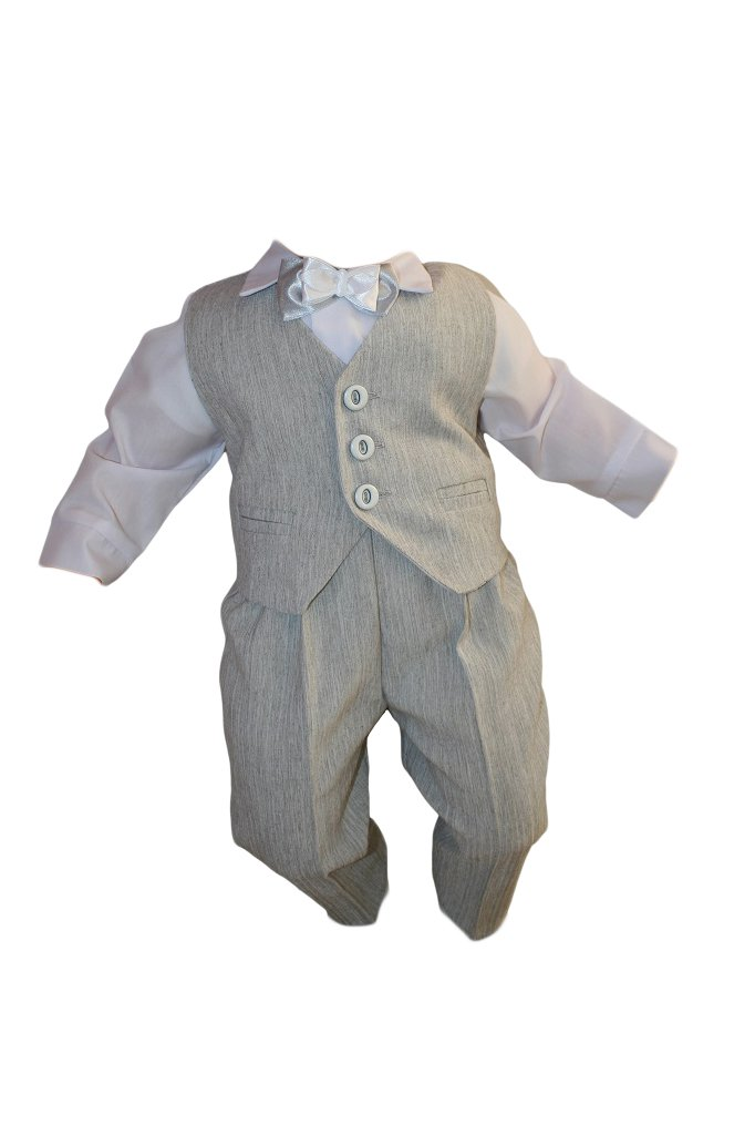 Party Outfit Baptism Boy's Suit 5 Piece Grey-White Baby Suit Wedding K10