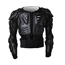 Durable Motorcycle Full Body Armor Protector Pro Street Motocross ATV Guard Shirt Jacket Spine Chest Shoulder/Back Protection for Biking Cycling Riding (Black, XXL)