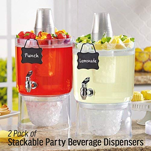 2 Pack Cold Beverage Drink Dispenser Stackable 1.75 Gallon with Chalkboard - Hurricane Acrylic Glass