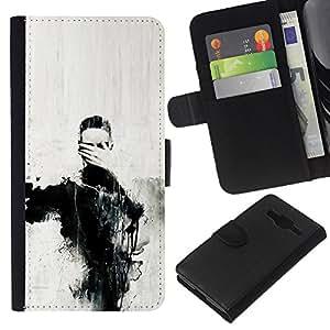 Arte Ojos Pintura Mano Carbón- la tarjeta de Crédito Slots PU Funda de cuero Monedero caso cubierta de piel Para Samsung Galaxy Core Prime