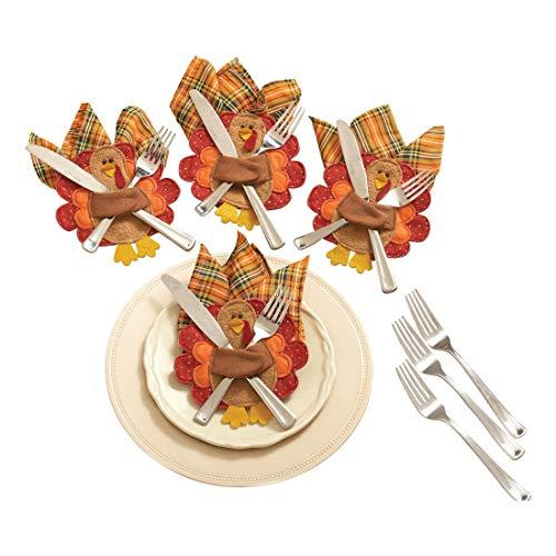 Thanksgiving Turkey Silverware Napkin Set of 4 Fall Autumn Holiday Seasonal
