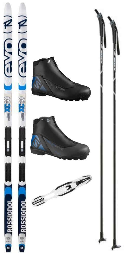 Rossignol Evo XC 60 Tour Cross Country Ski Package Skis, Boots, Bindings, Poles