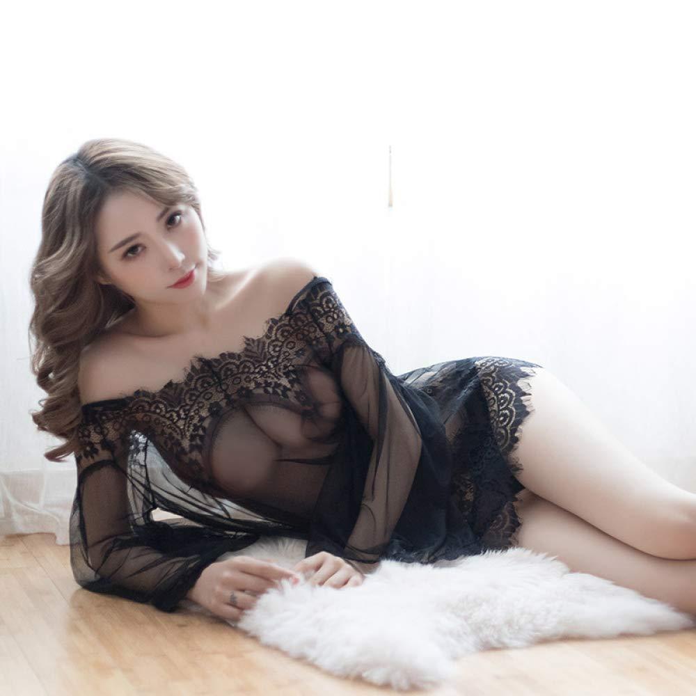 QAS Lencería Sexy, Tentación Uniforme de Cuero Pasión de Imitación Hueco Pasión Cuero Sexy Juego de rol Traje Sexy,Negro,UNA 553851