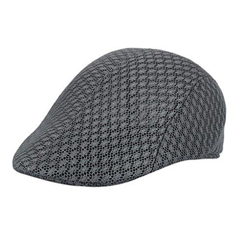 Elevin(TM)Women Men Summer Breathable Mesh Newsboy Hats Casual Beret Caps (Dark Gray)