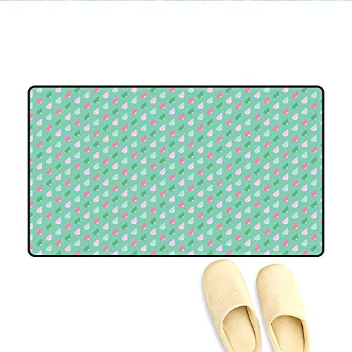 (Bath Mat Original Funny Teardrops Rain Shower Textured Pattern Children Kids Baby Girl Image Doormat Outside Pink Green 16