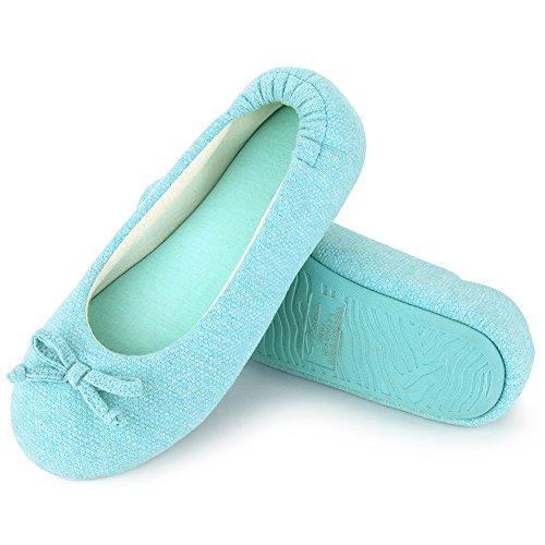 Wishcotton Womens Breathable Ballerina Slippers Blue