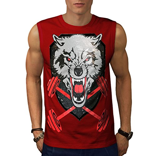 f0b3f30eaec3 wellcoda Wolf Gym Workout Sport Mens Sleevless T-Shirt