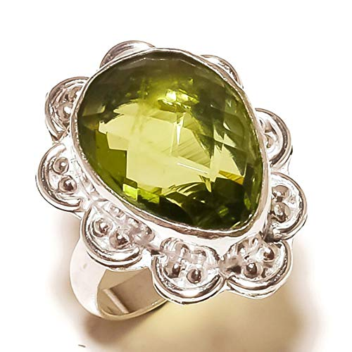 (Jewels House Green Amethyst Pear Gemstone Silver Plated Handmade Statement Green Stone Ring US-9)