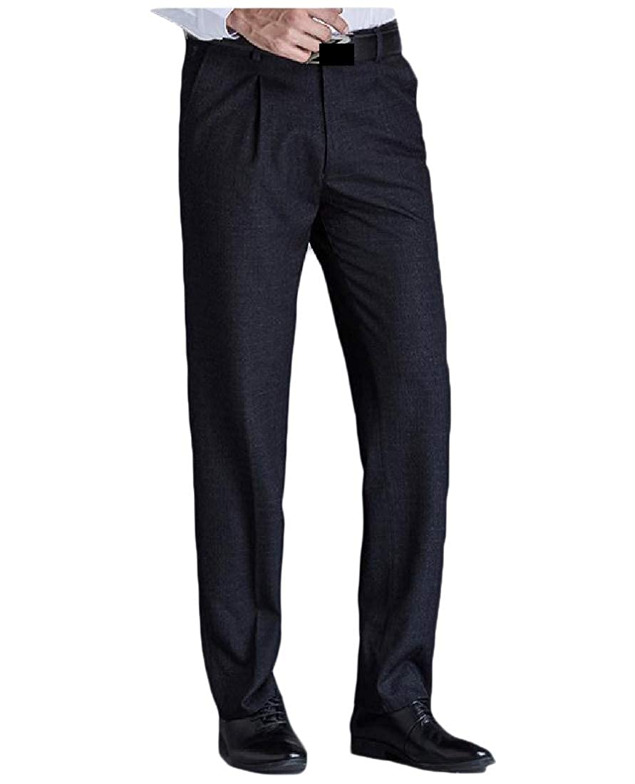 YUNY Mens Formal Business Straight Middle Waist Oversized Plain-Front Pant Black 31