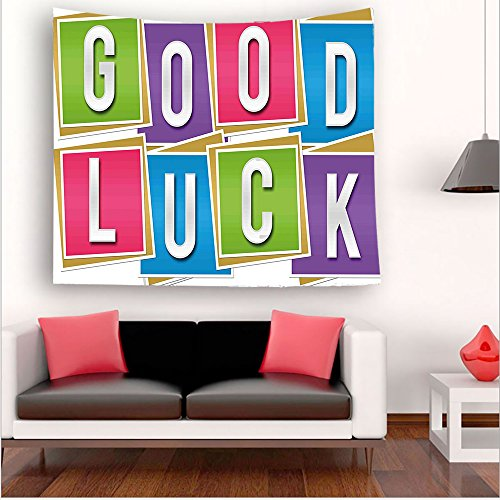 Nalahome-Going Away Party Decorations Colorful Vibrant Blocks with Letters Saying Good Luck Modern Multicolor tapestry psychedelic wall art tapestry hanging 59W x 59L Inches 59W x 59L Inches